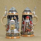 German Santa stein with crystal top