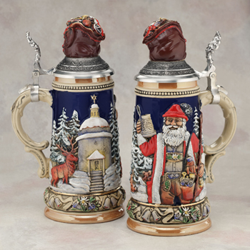 German beer stein Santa with bag