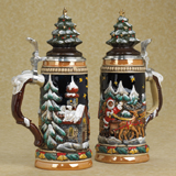 German stein Christmas sled and tree