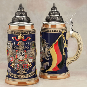 German beer stein with flag and eagle