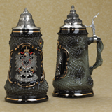 German beer stein black crest