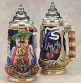 German beer stein with barrels