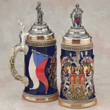 German beer stein Prague with flag