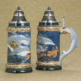 German beer stein dolphins