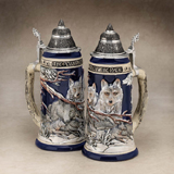 German beer stein pack of wolves